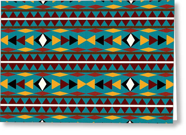 Tribal Greeting Cards - Navajo Teal Pattern Greeting Card by Christina Rollo