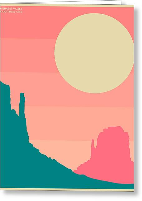 Minimal Landscape Greeting Cards - Navajo Tribal Park Greeting Card by Jazzberry Blue