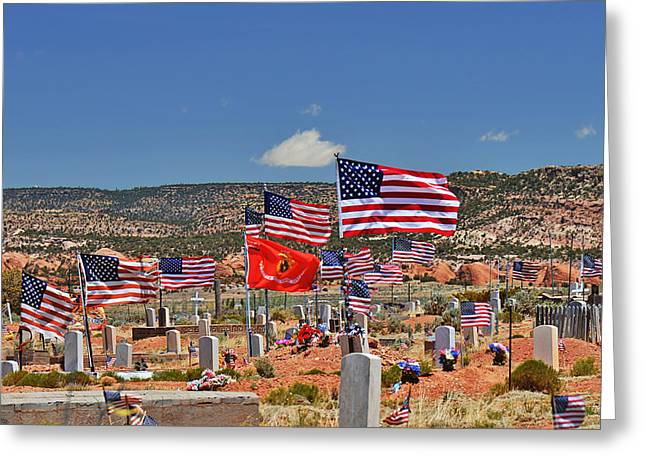 Memorial Greeting Cards - Navajo Veterans Memorial Cemetery Tsehootsooi Greeting Card by Christine Till
