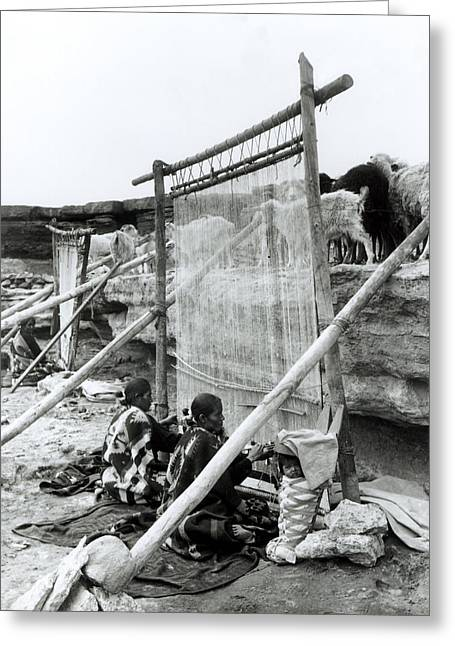 Loom Greeting Cards - Navajo Weavers, C.1914 Bw Photo Greeting Card by William J. Carpenter