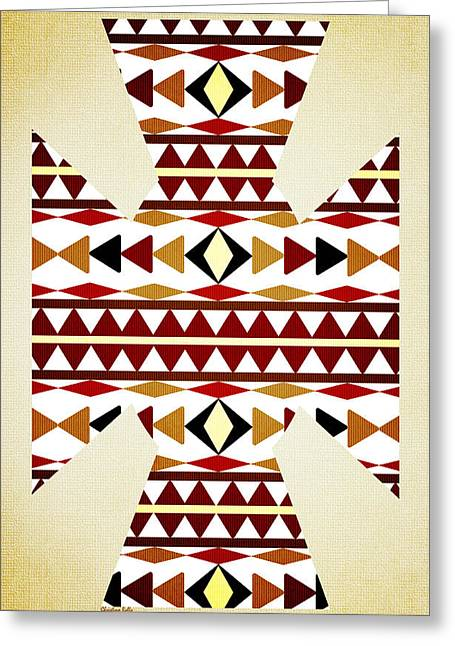 Geometric Shape Mixed Media Greeting Cards - Navajo White Pattern Aged Greeting Card by Christina Rollo
