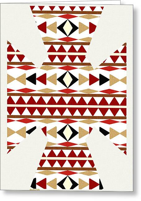 Geometric Shape Mixed Media Greeting Cards - Navajo White Pattern Art Greeting Card by Christina Rollo