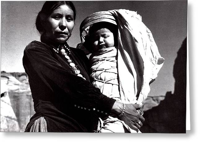 Navajo Woman With Infant Greeting Card by Ansel Adams