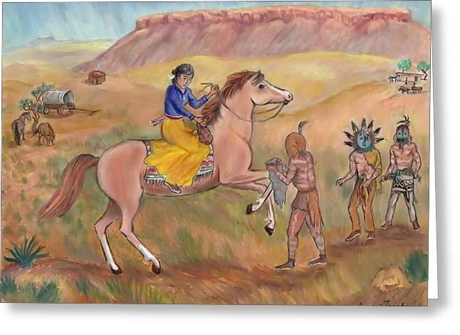 Wagon Pastels Greeting Cards - Navajo Yeii Impersonators - age 17 Greeting Card by Dawn Senior-Trask