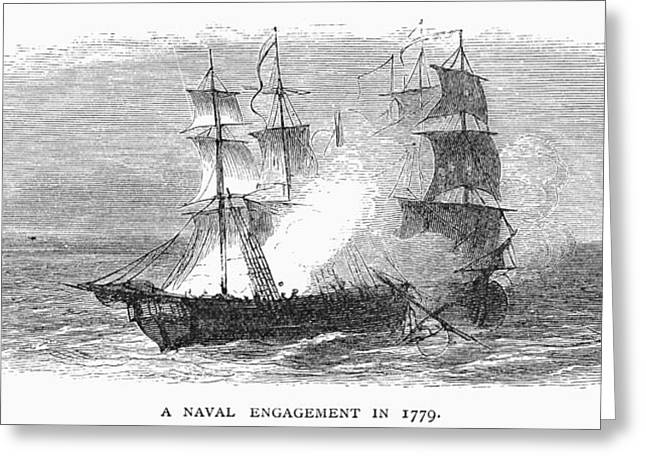 1779 Greeting Cards - Naval Battle, 1779 Greeting Card by Granger