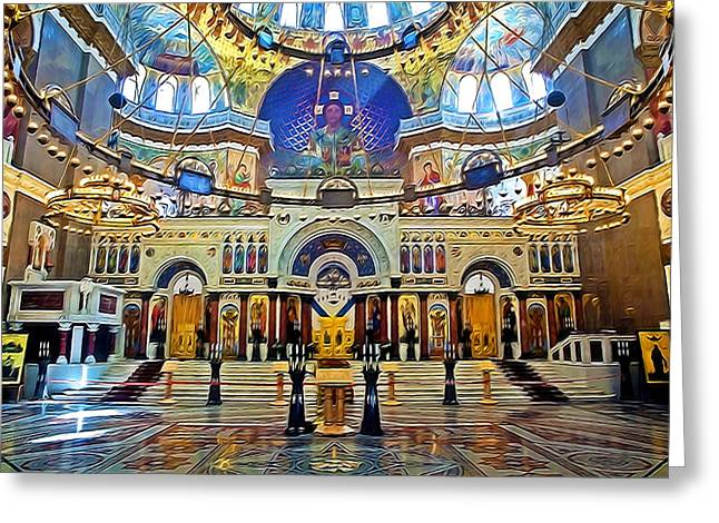 Byzantine-russian Greeting Cards - Naval cathedral of Saint Nicholas in Kronstadt Greeting Card by Lanjee Chee