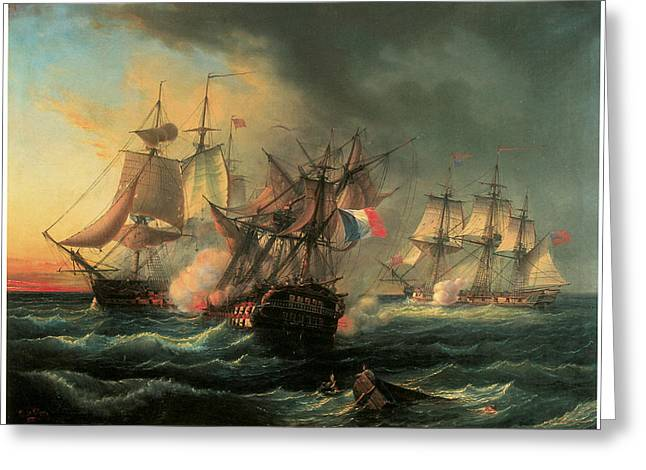 War Ship Greeting Cards - Naval Combat between the Rights of Man and the English Vessel Indefatigable and the Frigate Amazon Greeting Card by Leopold Le Guen