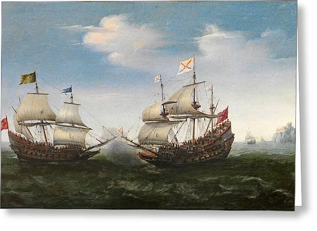 Vroom Greeting Cards - Naval Combat off a rocky Coastline Greeting Card by Hendrik Cornelisz Vroom