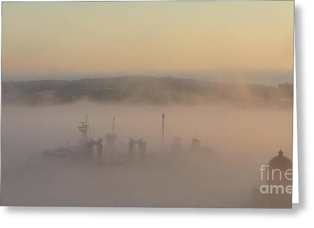 Buildings In The Harbor Greeting Cards - Naval Ship Passing Stealthily in the Fog Greeting Card by John Malone