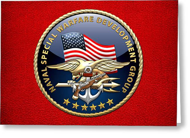 Development Digital Greeting Cards - Naval Special Warfare Development Group - D E V G R U - Emblem on Red Greeting Card by Serge Averbukh