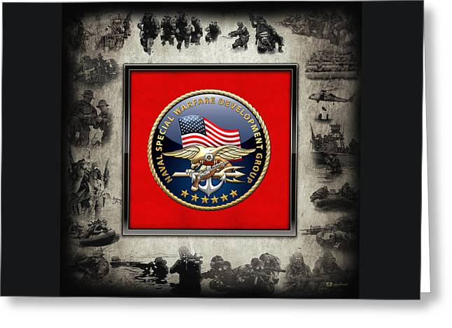 Development Digital Greeting Cards - Naval Special Warfare Development Group - D E V G R U - Emblem over Navy S E A Ls Collage Greeting Card by Serge Averbukh