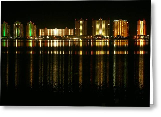 Navarre Beach Photographs Greeting Cards - Navarre at Night Greeting Card by Ed Goode
