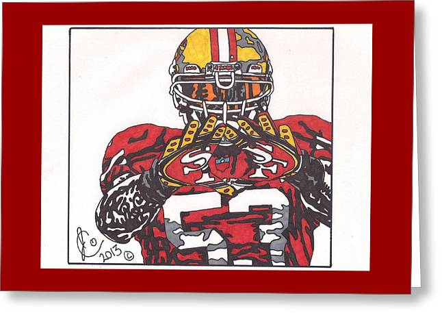 49ers Drawings Greeting Cards - Navorro Bowman Greeting Card by Jeremiah Colley