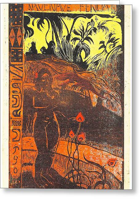 Artist Series Greeting Cards - Nave Nave Fenua from the Noa Noa Series Greeting Card by Paul Gauguin