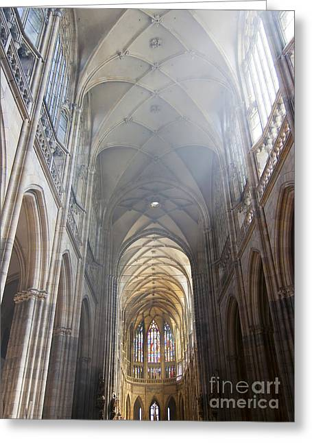 Prague Castle Greeting Cards - Nave Of The Cathedral Greeting Card by Michal Boubin