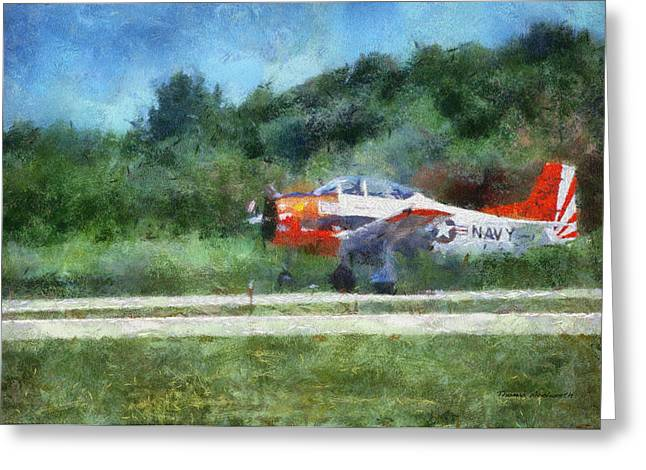 Jet Star Greeting Cards - Navel Plane Wheels Up Photo Art Greeting Card by Thomas Woolworth