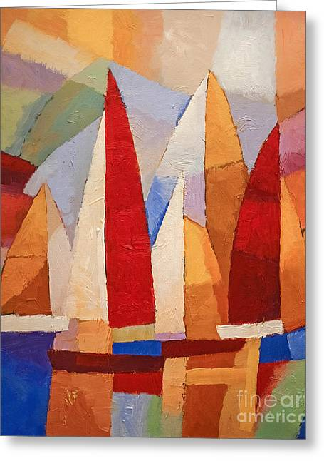Abstract Seascape Paintings Greeting Cards - Navigare Greeting Card by Lutz Baar