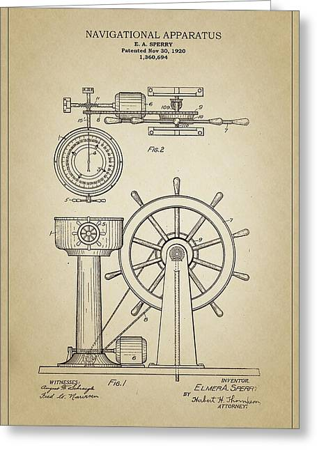 Steering Drawings Greeting Cards - Navigational Apparatus Greeting Card by Ambro Fine Art