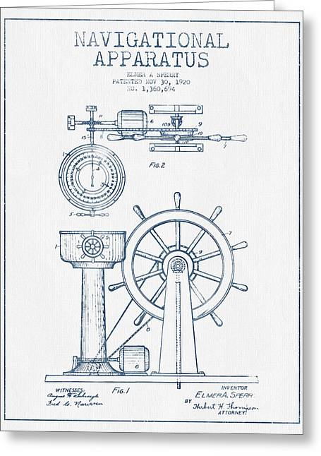 Rudders Greeting Cards - Navigational Apparatus Patent Drawing From 1920  -  Blue Ink Greeting Card by Aged Pixel