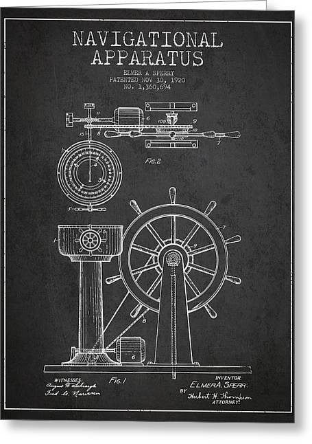 Steering Greeting Cards - Navigational Apparatus Patent Drawing From 1920 - Dark Greeting Card by Aged Pixel