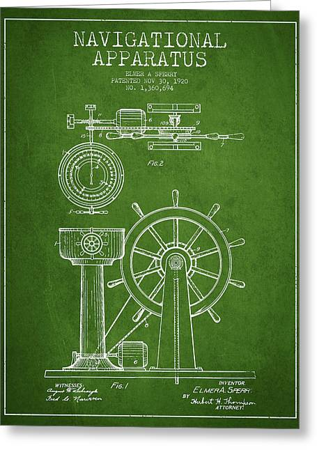 Steering Greeting Cards - Navigational Apparatus Patent Drawing From 1920 - Green Greeting Card by Aged Pixel