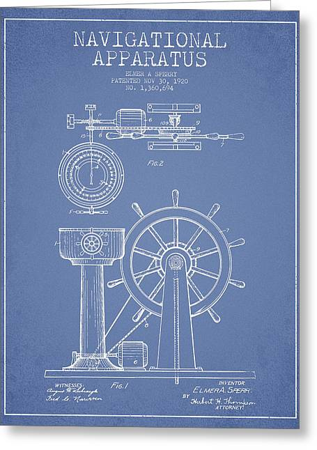 Steering Greeting Cards - Navigational Apparatus Patent Drawing From 1920 - Light Blue Greeting Card by Aged Pixel