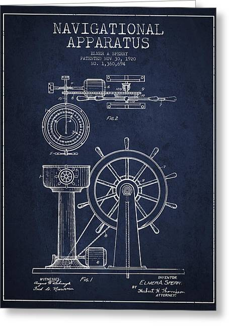 Steering Greeting Cards - Navigational Apparatus Patent Drawing From 1920 - Navy Blue Greeting Card by Aged Pixel