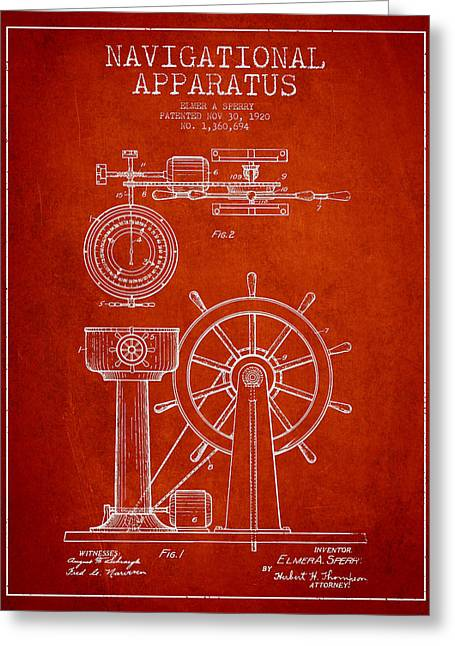 Steering Greeting Cards - Navigational Apparatus Patent Drawing From 1920 - Red Greeting Card by Aged Pixel