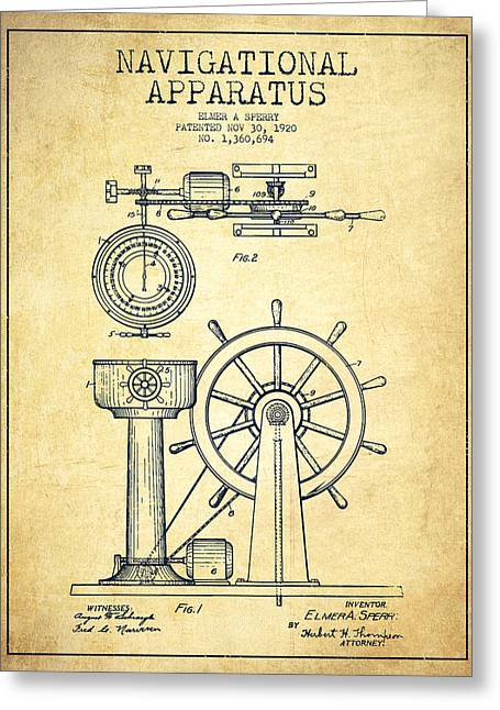 Steering Greeting Cards - Navigational Apparatus Patent Drawing From 1920 - Vintage Greeting Card by Aged Pixel