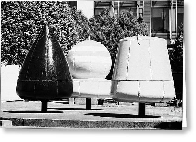 Navigational Greeting Cards - navigational buoys sculpture in Belfast city centre Greeting Card by Joe Fox