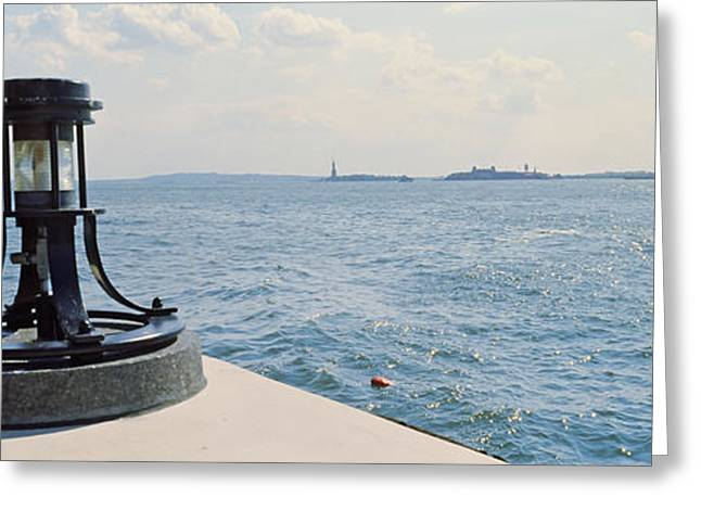 Navigational Greeting Cards - Navigational Light At A Harbor, New Greeting Card by Panoramic Images