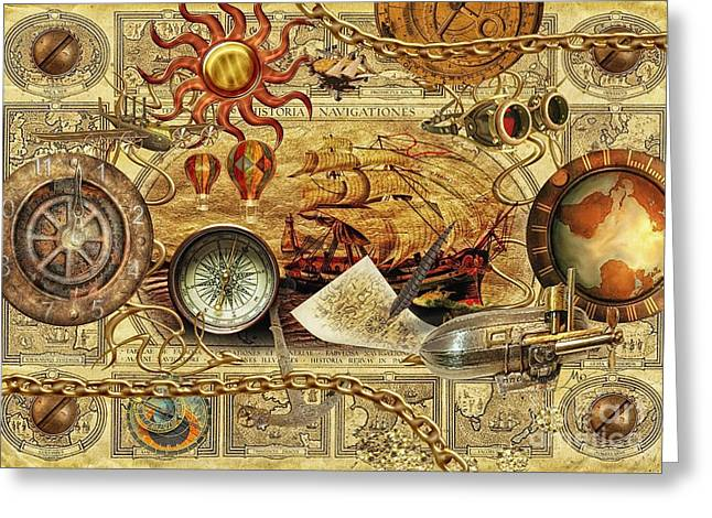 Discovery Mixed Media Greeting Cards - Navigationes Greeting Card by Mo T