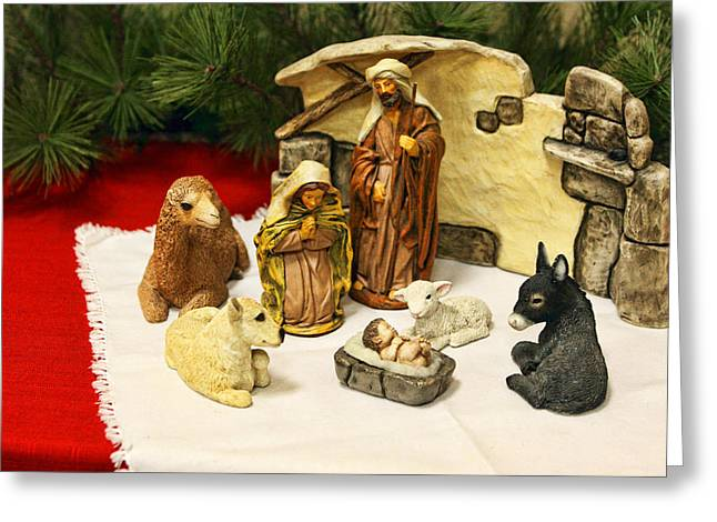 Holy Napkin Greeting Cards - Navitity in Ceramics Greeting Card by Linda Phelps