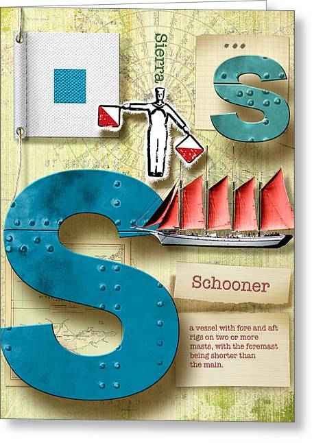Usn Greeting Cards - Navy Alphabet Nautical Letter S Greeting Card by Vanessa Bates
