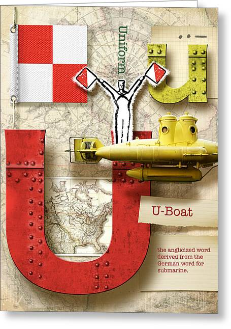 Nato Greeting Cards - Navy Alphabet Nautical Letter U Greeting Card by Vanessa Bates