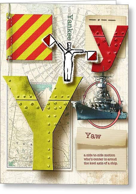 Usn Greeting Cards - Navy Alphabet Nautical Letter Y Greeting Card by Vanessa Bates