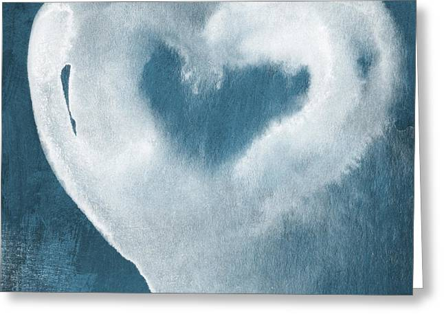 Love Blues Greeting Cards - Navy Blue and White Love Greeting Card by Linda Woods