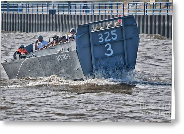Steel Water Feature Greeting Cards - Navy Landing Craft 325 Greeting Card by Thomas Woolworth