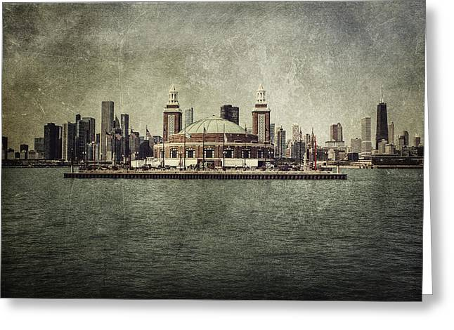 Metal Art Greeting Cards - Navy Pier Greeting Card by Andrew Paranavitana