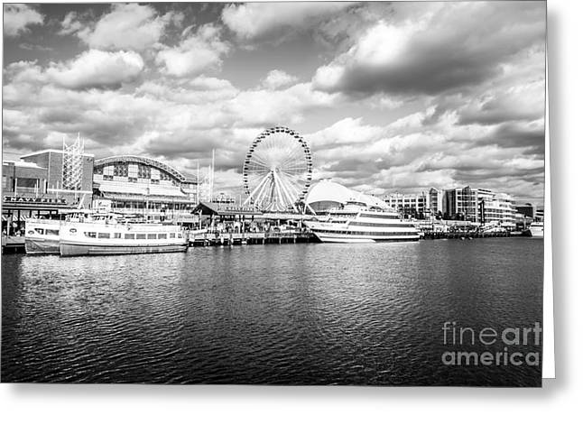 Black And White Photos Greeting Cards - Navy Pier Black and White Photo Greeting Card by Paul Velgos