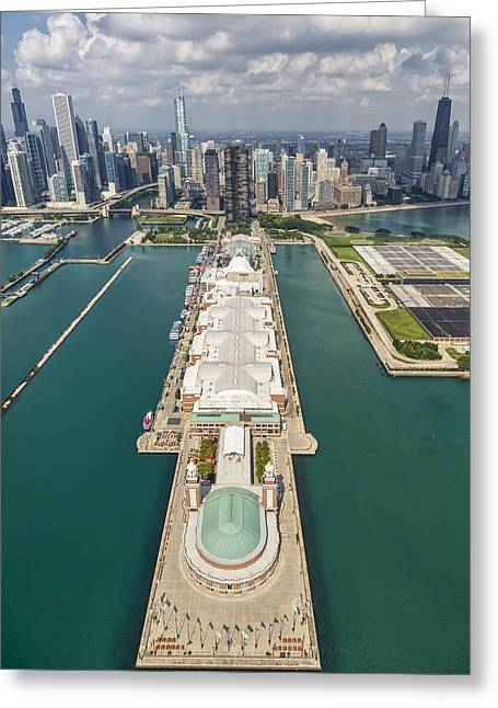 Lakeshore Greeting Cards - Navy Pier Chicago Aerial Greeting Card by Adam Romanowicz