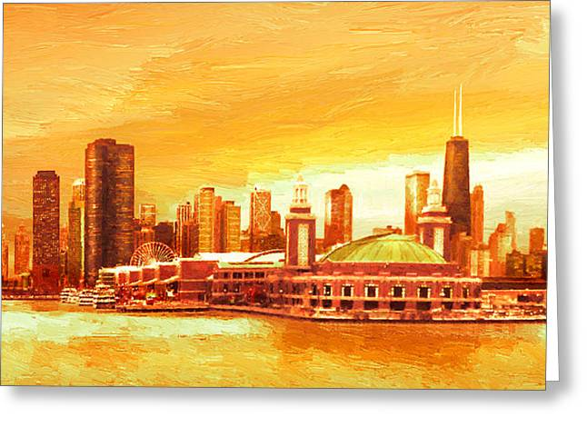 Autumn Scenes Digital Art Greeting Cards - Navy Pier Chicago --Autumn Greeting Card by Doug Kreuger