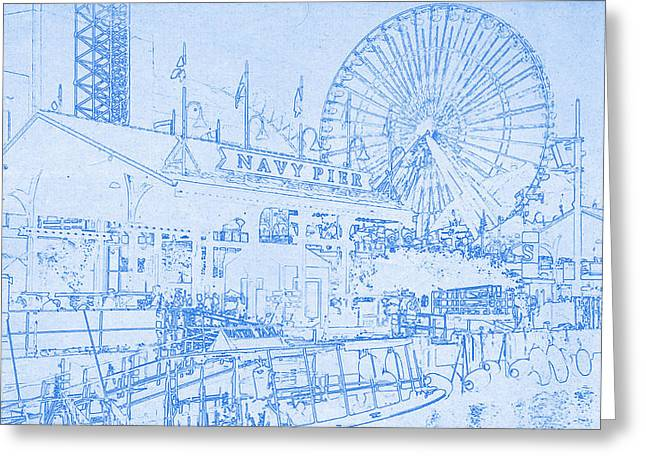 Chicago Skyline Mixed Media Greeting Cards - Navy Pier Chicago Blueprint Greeting Card by MotionAge Designs
