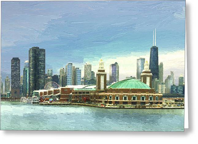 Chicago Digital Greeting Cards - Navy Pier Chicago --Winter Greeting Card by Doug Kreuger