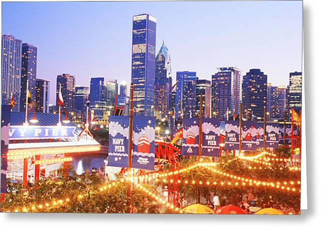 Dusk City Skyline Greeting Cards - Navy Pier Chicago Il Greeting Card by Panoramic Images