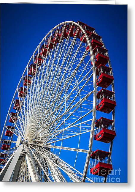 Colorful Photos Greeting Cards - Navy Pier Ferris Wheel in Chicago Greeting Card by Paul Velgos