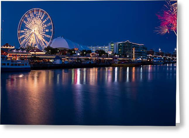Theater Greeting Cards - Navy Pier Fireworks Chicago I L Greeting Card by Steve Gadomski
