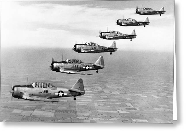 Navy Planes In Formation Greeting Card by Underwood Archives