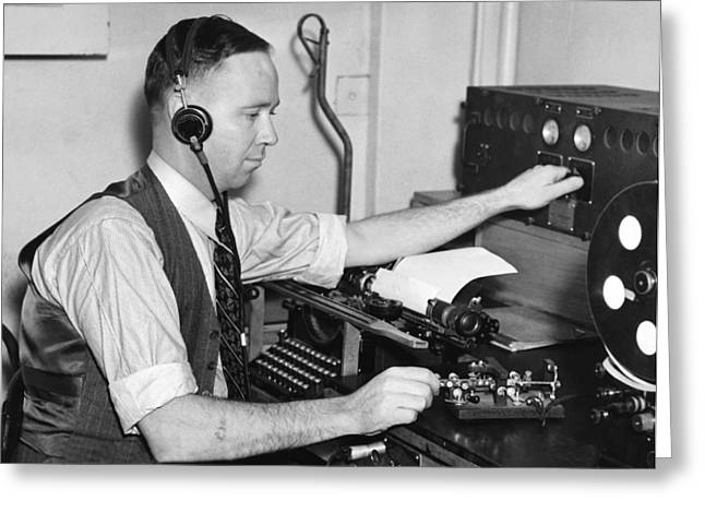 Copying Greeting Cards - Navy Radio Telegraph Man Greeting Card by Underwood Archives