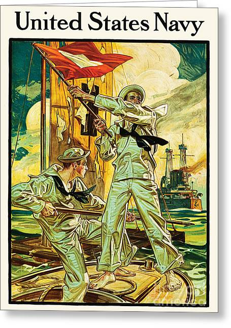 Recently Sold -  - Wwi Greeting Cards - Navy Recruiting 1910 Greeting Card by The Realm  Endless